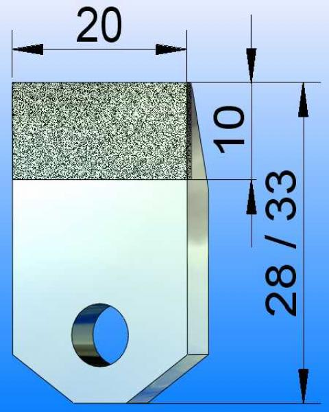 Diamond Blade, 20x10 Active Surface, Wolfram Bond, Diamond Grit